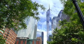 Looking Up at the Freedom Tower from Hudson River Greenway Bike Path Footage