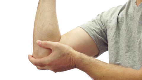 Male Elbow Pain Isolated on White Live Action