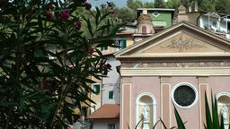 Europe Italy Liguria Airole village 002 church of Trucco at main street Footage