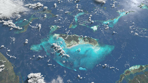 Inspiring wide shot of Bahama islands from space Animation