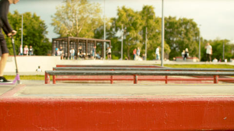 Blurry people riding in a skate park Footage