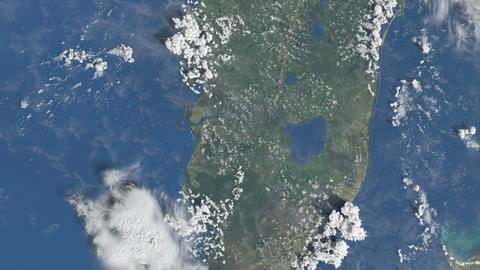 Slow peaceful flight above Florida from space Animation