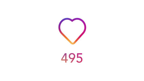 Social Media Concept Variant Gradient Colorful Heart With Counter Animation
