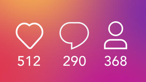Social Media Concept Like, Comment, Follower, Counter with Gradient Colorful Background Animation