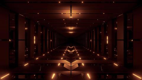 golden tunnel corridor 3d rendering illustration background wallpaper motion Animation