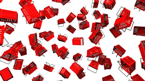 Red Shopping baskets on white background Animation