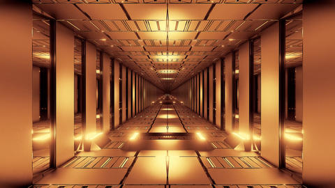 golden tunnel corridor 3d rendering illustration background wallpaper motion Animation