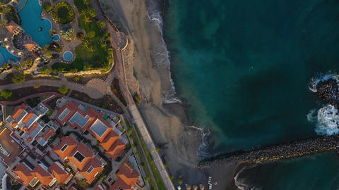 Aerial view of Los Cristianos, Las Americas and Adeje, Canary Islands, Tenerife Footage