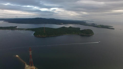 Aerial view of the sea landscape panorama of the Amur Bay. Vladivostok, Russia Live Action