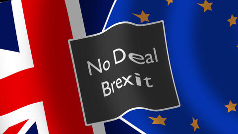 "Union Jack Flag with the word ""No-deal Brexit"", Brexit crisis concept Animation"
