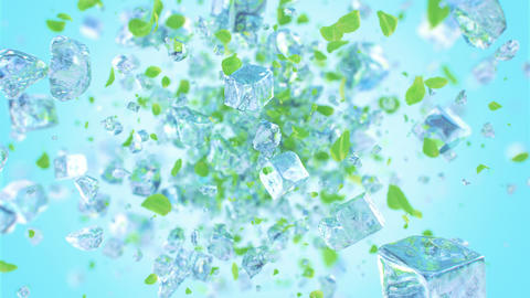 Exploding frosted ice cube with mint leafs in 4K Animation