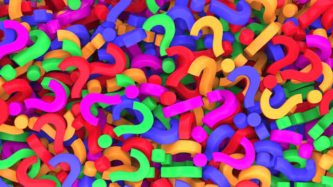 Falling question marks and rotating exclamation point, Stock Animation