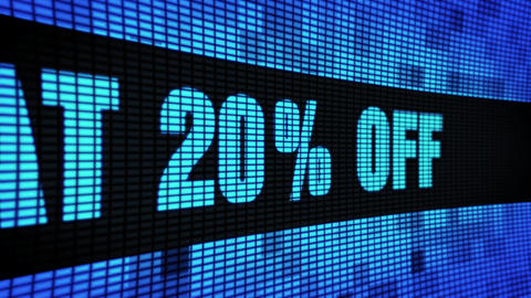 Flat 20% Percent Off Side Text Scrolling LED Wall Pannel Display Sign Board Footage