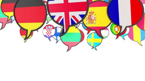 World flags in form of speech bubble Live Action