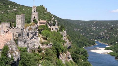 Castle Château d'Aiguèze in France Footage