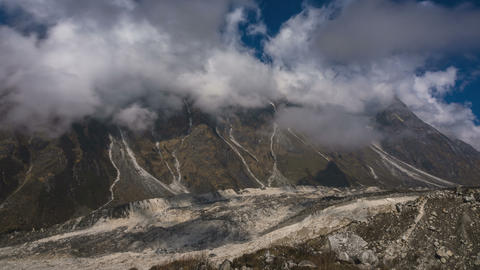 Glacier and Cloudy Sky. Manaslu Trekking Footage