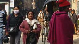 People wearing surgical masks in Kathmandu Nepal 2009 Footage