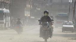 Cars, motorbikes and trucks in Kathmandu Nepal Footage