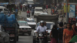 Busy road scene in Kathmandu Nepal - before earthquake Footage