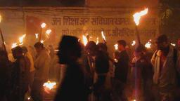 Maoist torch-lit demo Kathmandu Nepal 2009 Footage