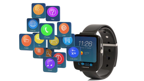 Smart Watch Displaying Apps Icons Footage