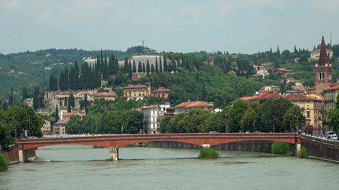 Bridge over River Etsch in Verona Italy - Fiume Adige Footage