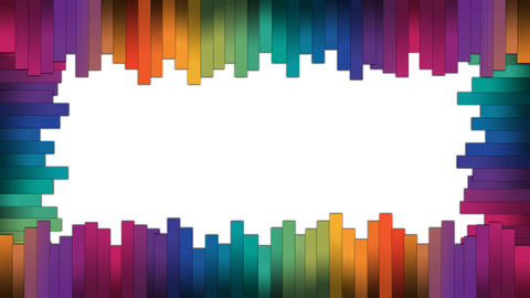 Colorful stripes forming a frame with popup animation for intro or opener After Effects Template