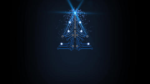 Electronic style Christmas tree digital greeting card design element After Effects Template