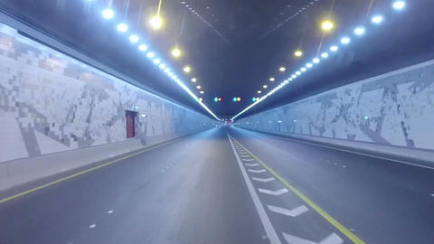 Driving On Highway Tunnel, Abu Dhabi, UAE Footage