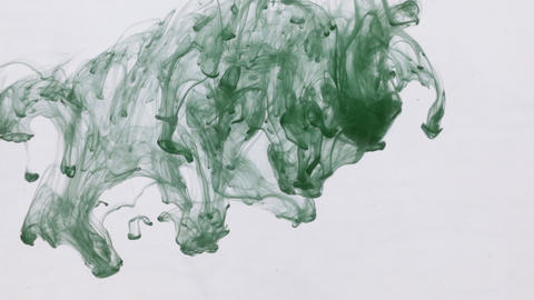 Chaotic movement of drops of green paint in water. Ink in water. Close-up Live Action