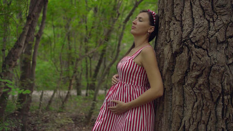 Pregnant girl in the park on a background of green trees. A girl in a striped Footage