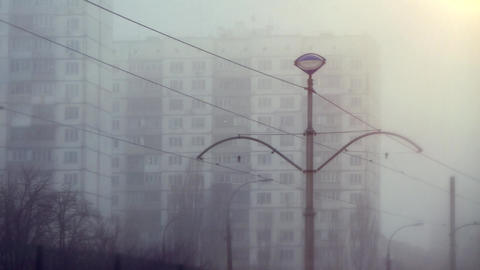 East European City Mid-Rise Buildings Of The Soviet Era With Power Line In The Front Live Action