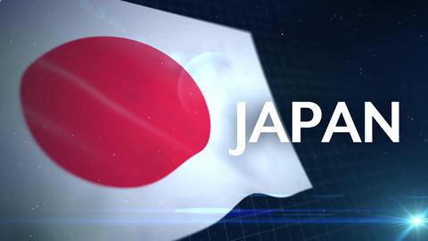揺れる日本の国旗とパーティクル After Effectsテンプレート