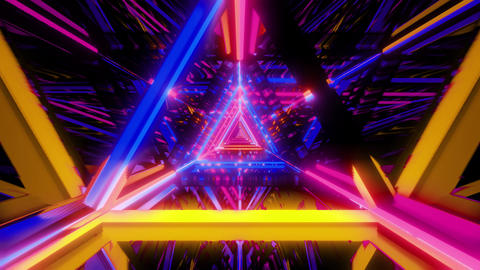abstract stylish yellow blue pink wireframe triangle design with nice Animation