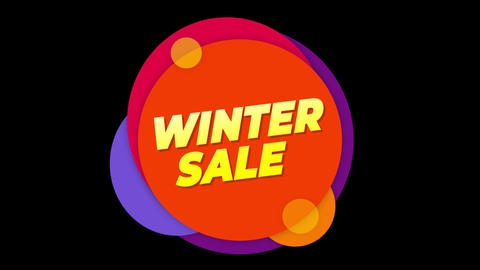 Winter Sale Text Sticker Colorful Sale Popup Animation Footage