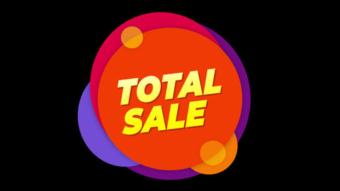 Total Sale Text Sticker Colorful Sale Popup Animation Footage