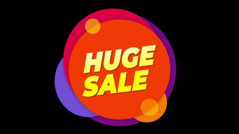 Huge Sale Text Sticker Colorful Sale Popup Animation Footage