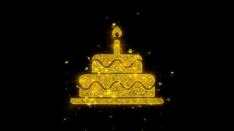 Birthday Cake Icon Sparks Particles on Black Background Live Action