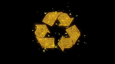 Triangular Arrows Recycle Icon Sparks Particles on Black Background Live Action