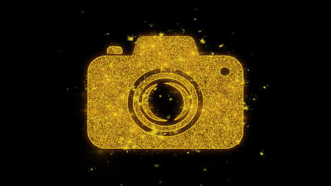 Camera Photography Icon Sparks Particles on Black Background Footage