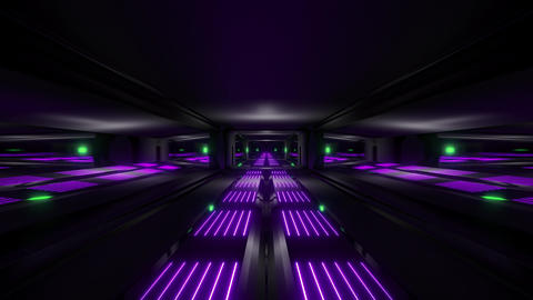 dark black space scifi tunnel with green purple glowing lights 3d illustration Animation