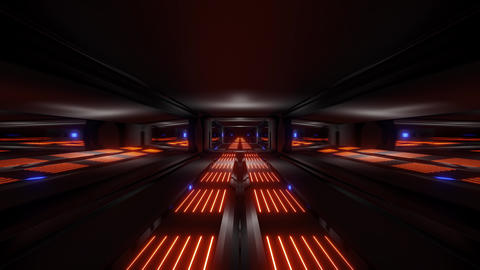 dark black space scifi tunnel with oraange blue glowing lights 3d illustration Animation