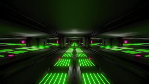 dark black space scifi tunnel with green pink glowing lights 3d illustration Animation