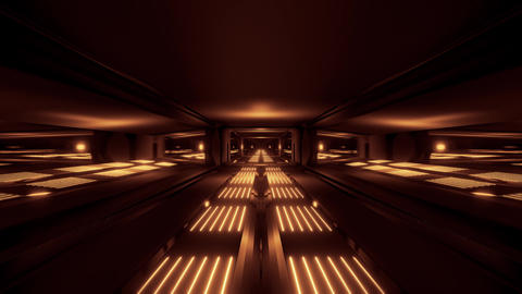 dark black space scifi tunnel with golden glowing lights 3d illustration Animation