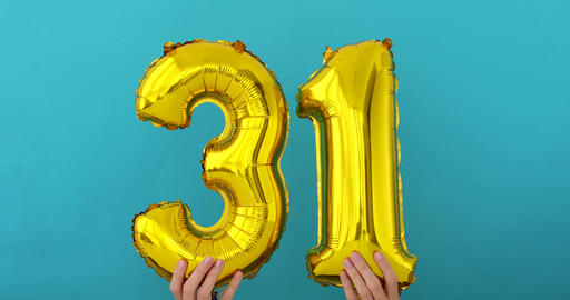 Gold foil number 31 thirty one celebration balloon Footage