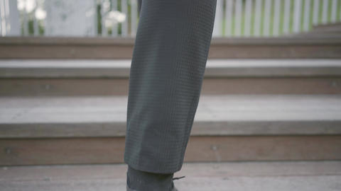 Legs of a stylish well-dressed businessman in expensive... Stock Video Footage