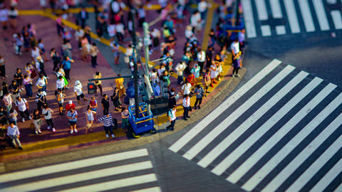 A timelapse of Shibuya crossing in Tokyo high angle tiltshift Live Action