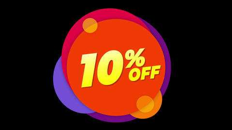 10% Percent Off Text Flat Sticker Colorful Popup Animation Live Action