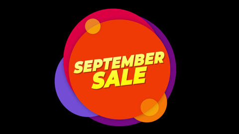 September Sale Text Sticker Colorful Sale Popup Animation Live Action