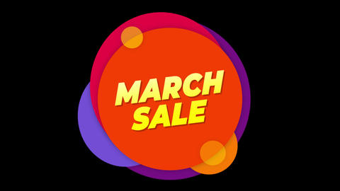 March Sale Text Sticker Colorful Sale Popup Animation Footage